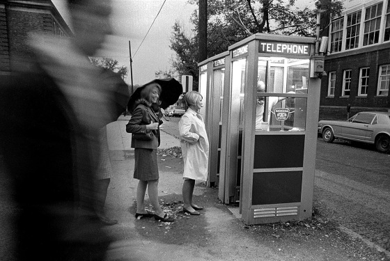 Pay telephone booths near Scott Quadrangle c 1967